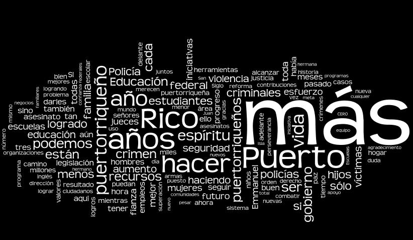 Wordle del mensaje del gobernador Luis Fortuño, febrero 2012 - oprima para ver más detalle