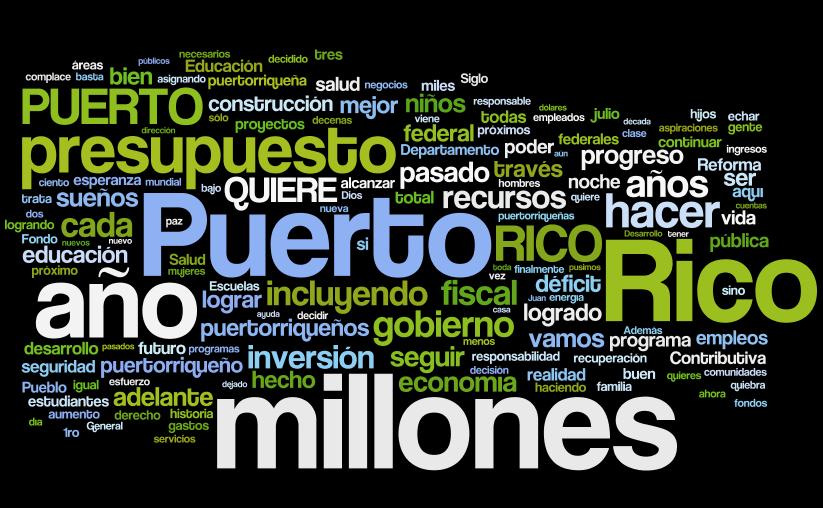 Wordle del mensaje del gobernador Luis Fortuño (abril 2012) - Oprima sobre la imagen para ver más detalle