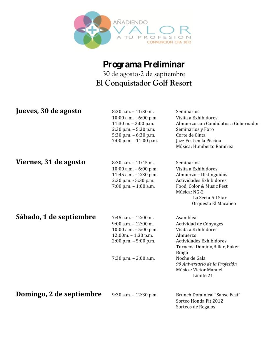 Programa de actividades de la Convención anual del Colegio de Contadores Públicos Autorizados de Puerto Rico