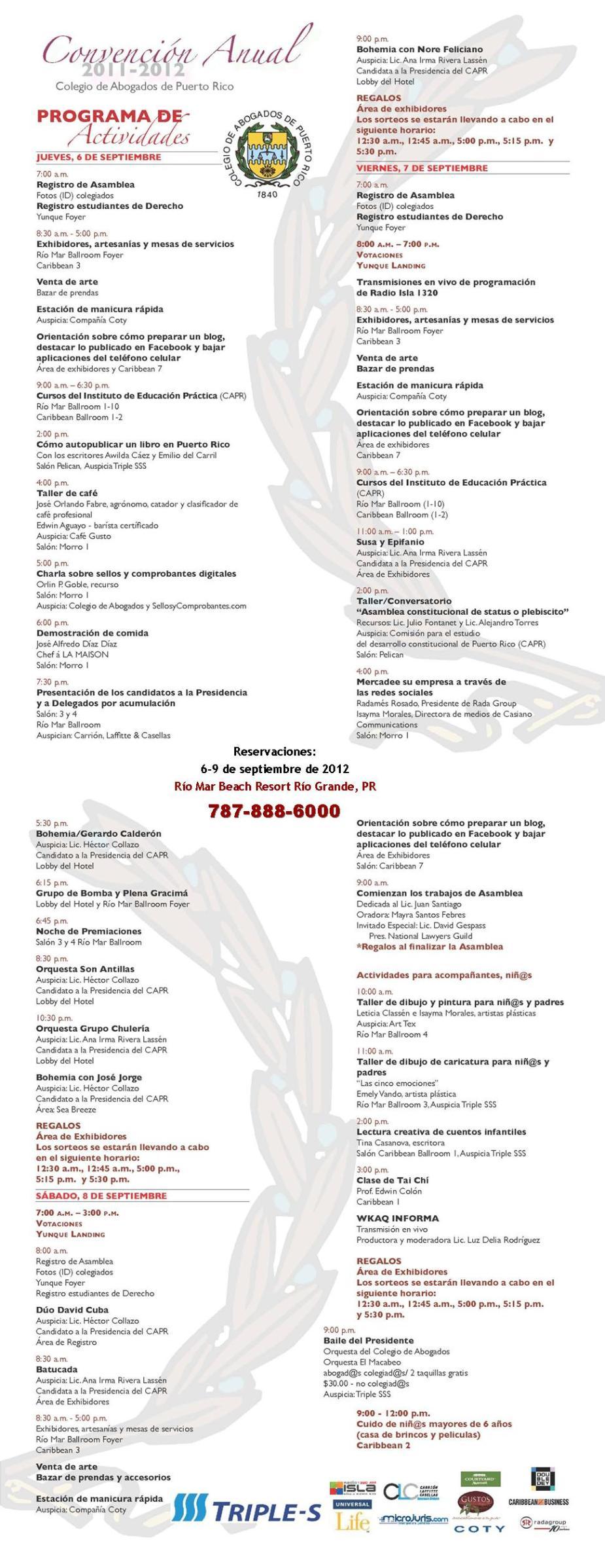 Programa de actividades de la Convención del Colegio de Abogados de Puerto Rico 2012