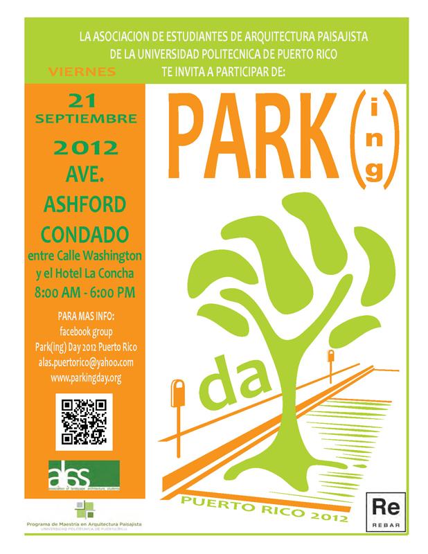 Asociación de Estudiantes de Arquitectura Paisajista invitan a PARK(ing) DAY 2012 en Condado