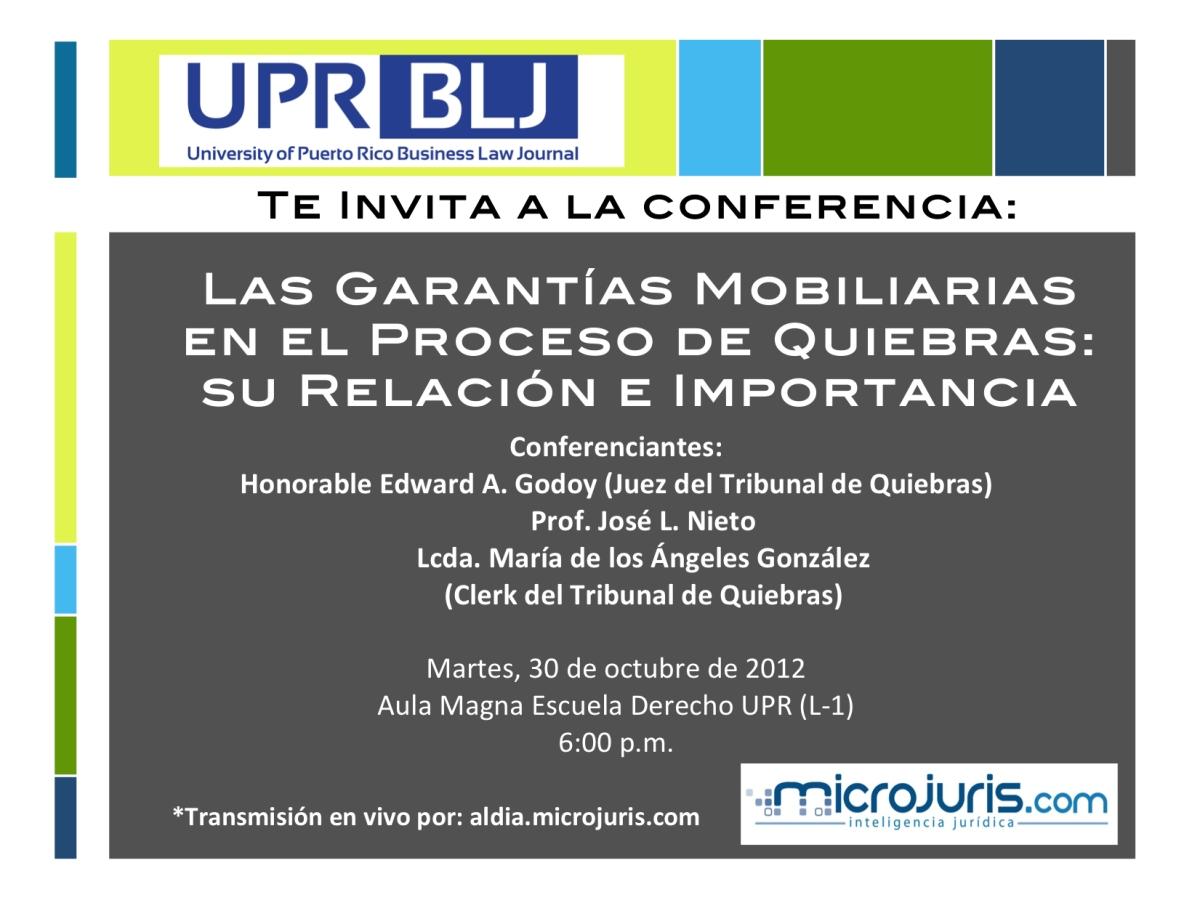 Microjuris transmitirá conferencia: Las garantías mobiliarias en el proceso de quiebras