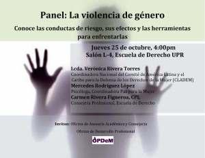 Derecho UPR presenta panel de violencia de género