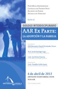 Derecho PUCPR invita a Diálogo interdisciplinario de AAR Ex Parte: La Adopción y Familia