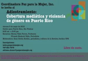 """Primera conferencia/adiestramiento sobre medios de comunicación: """"Cobertura mediática y violencia de género"""""""
