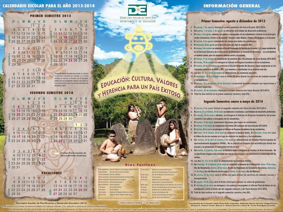 Calendario escolar de Puerto Rico para el año 2013-2014