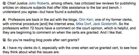 10 de octubre de 2013, The Wall Street Journal: el juez del Tribunal Supremo de EE.UU, Anthony Kennedy, comenta acerca de los blogs legales y las revistas jurídicas.