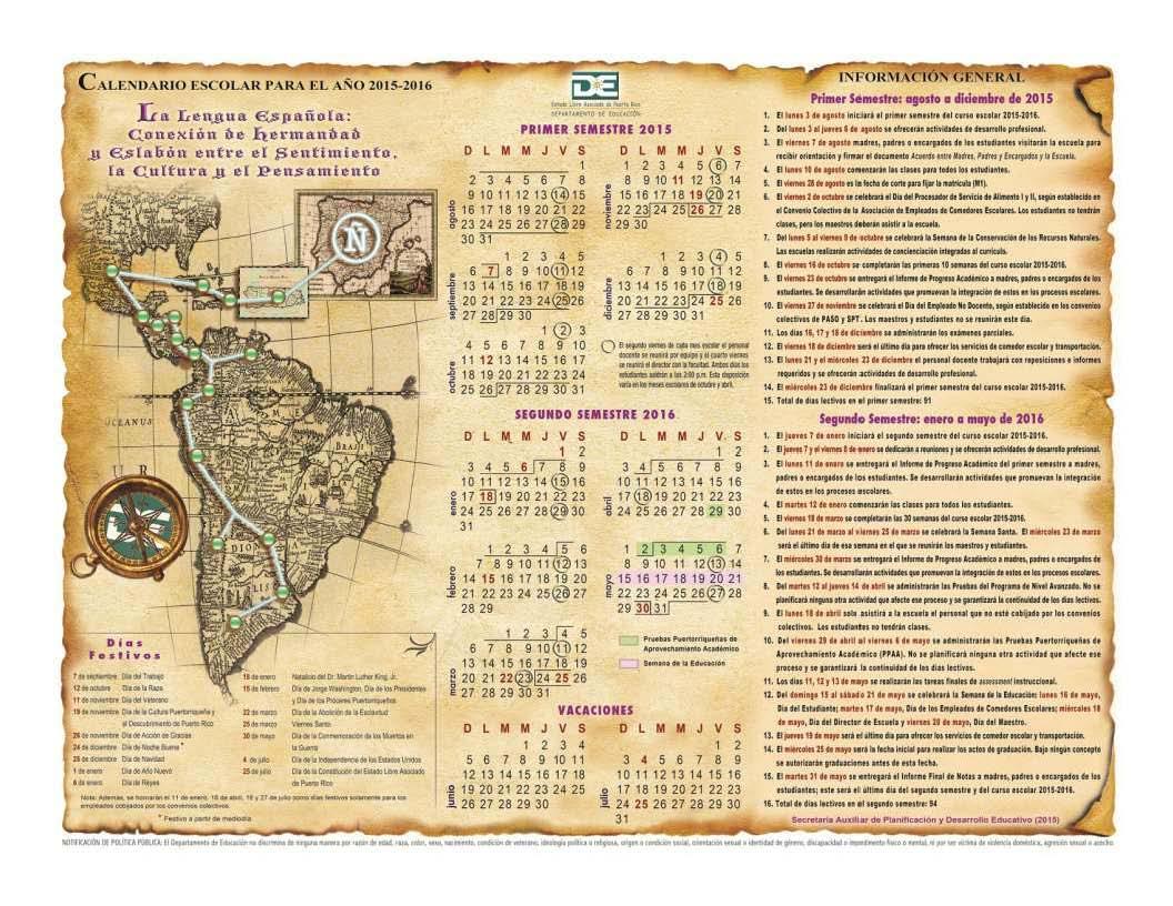 Calendario escolar de Puerto Rico para el año 2015-2016 ...