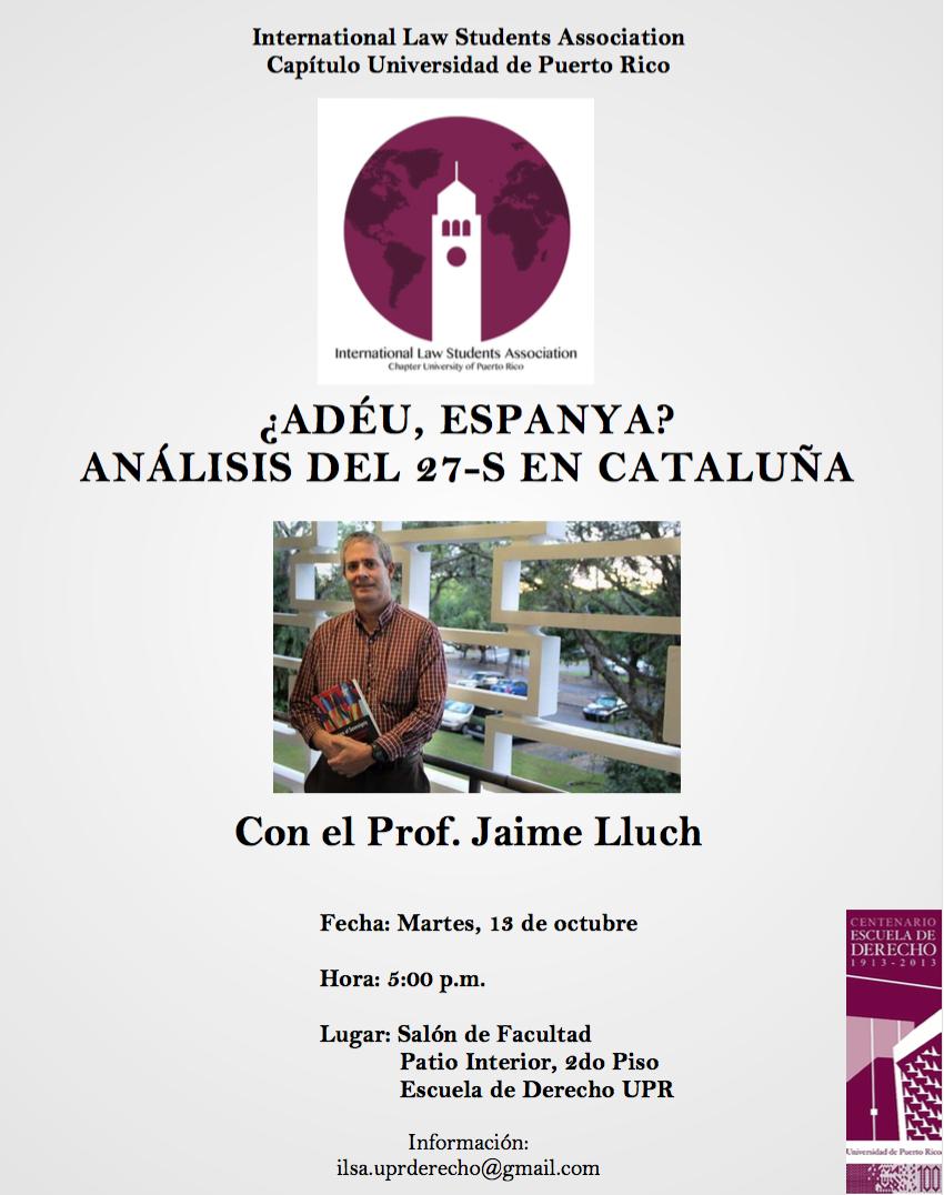 Charla sobre la elecciones autonómicas en Cataluña en Derecho UPR
