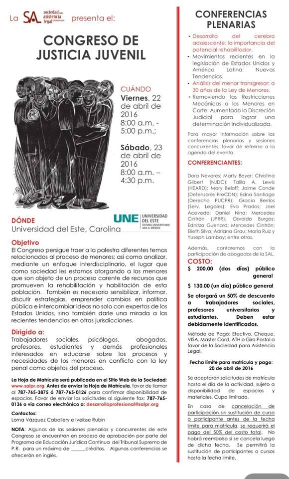 Sociedad de Asistencia Legal presentará Congreso de Justicia Juvenil