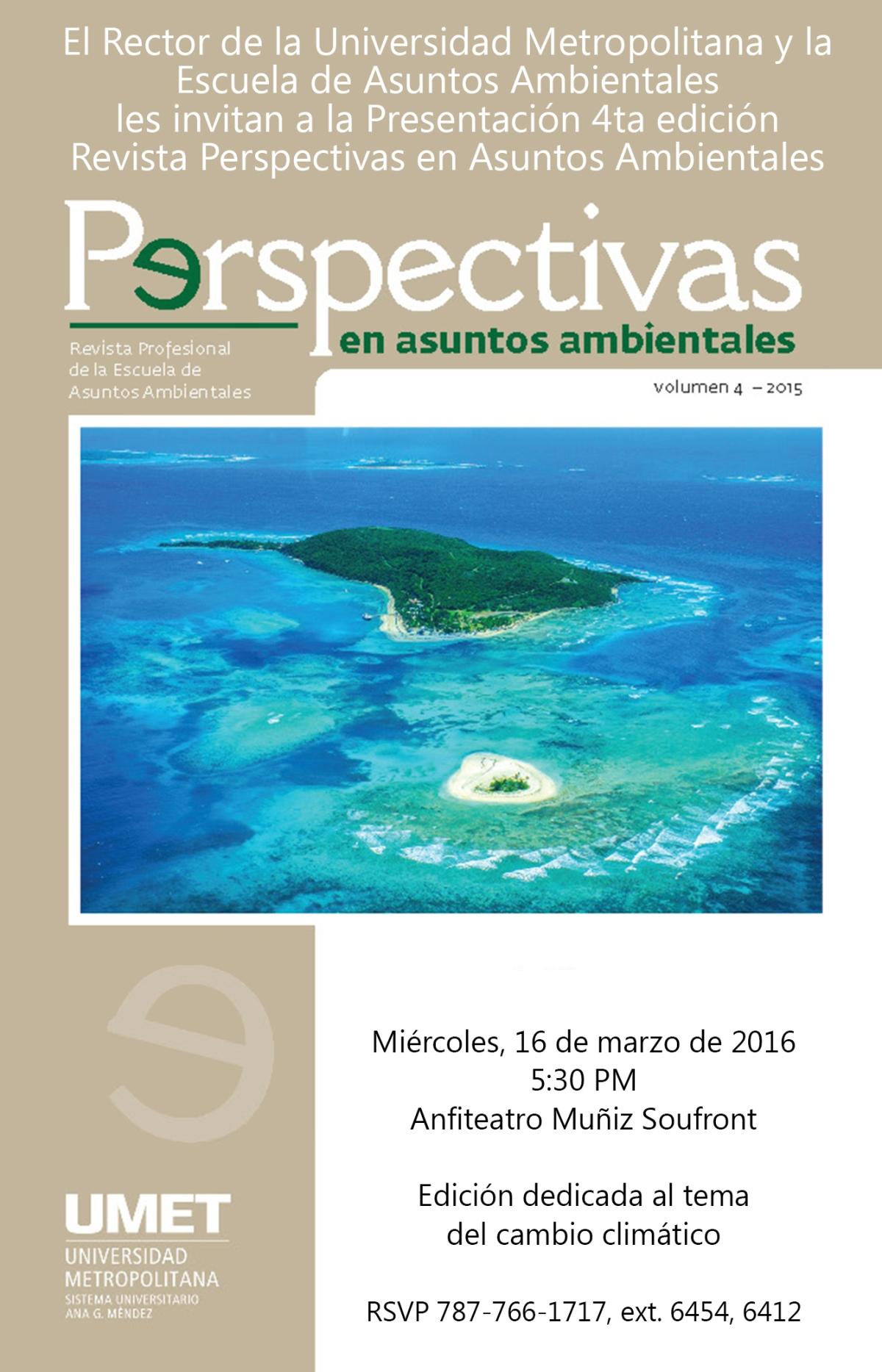 4ta edición de la revista Perspectivas en Asuntos Ambientales dedicada al cambio climático