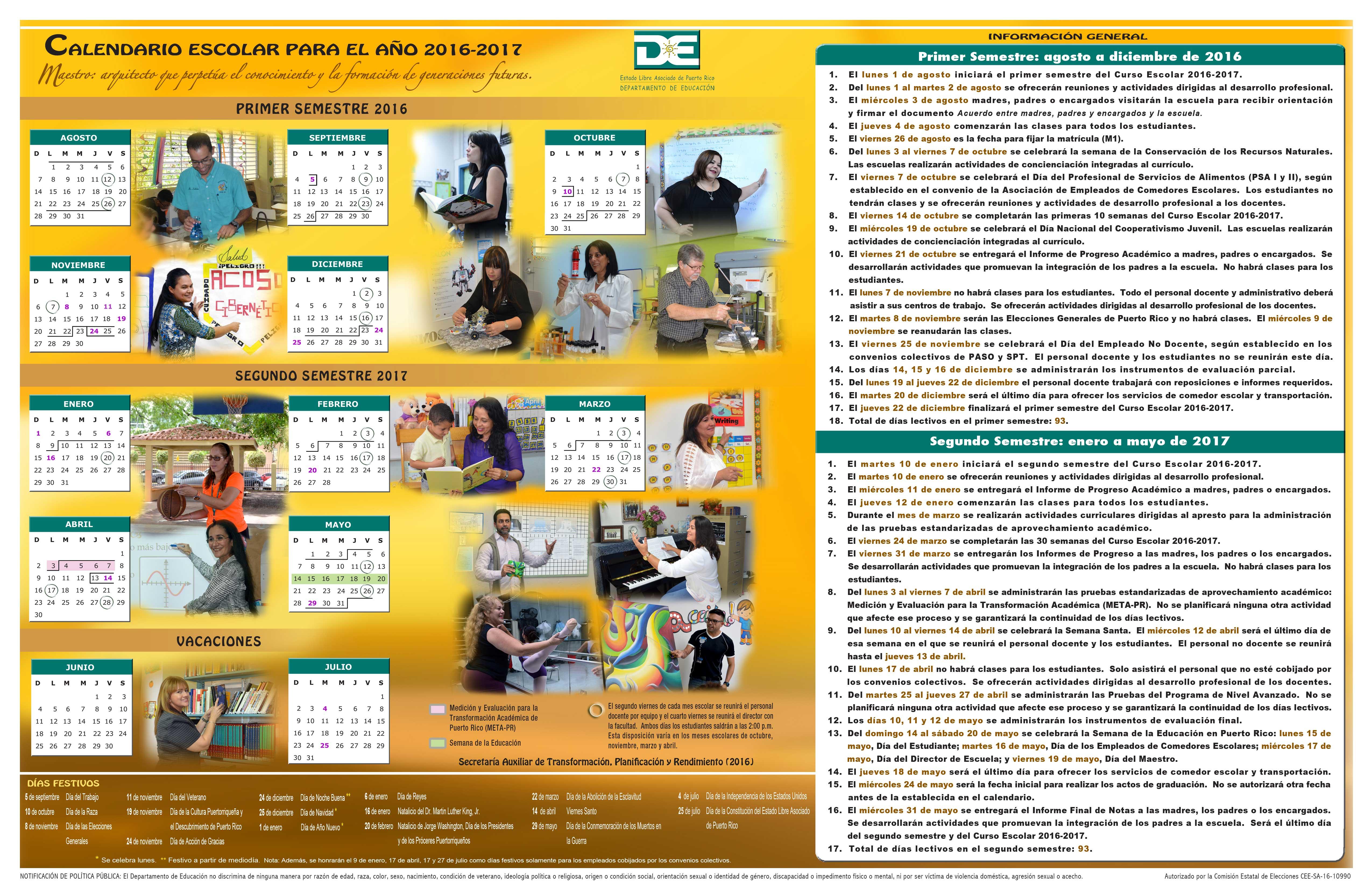 Calendario Escolar De Puerto Rico Para El Año 2016 2017 Al Día