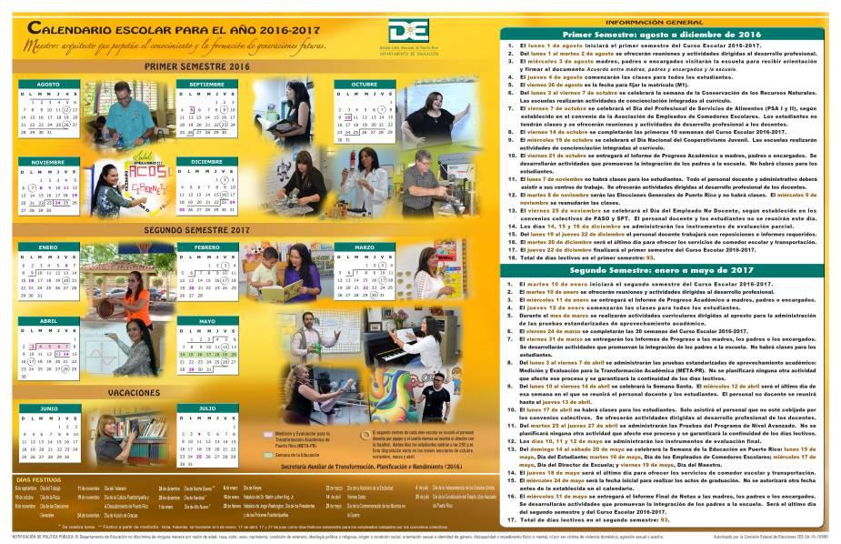 Calendario escolar de Puerto Rico para el año 2016-2017