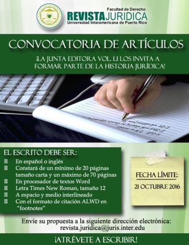Revista Jurídica de la Inter Derecho lanza convocatoria de artículos para próximo volumen