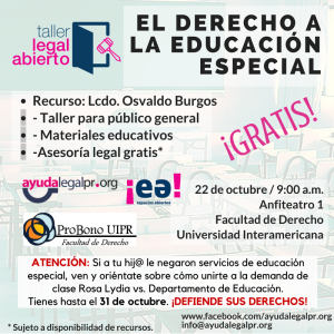 Taller Legal Abierto: El derecho a la educación especial
