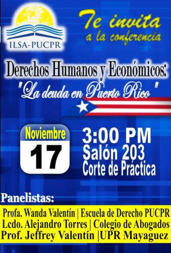 Pontificia invita a foro «Derechos económico y humanos: La deuda en Puerto Rico»