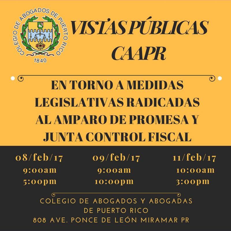 Transmisión de vistas en torno a medidas legislativas radicadas al amparo de PROMESA y la Junta de Supervisión Fiscal