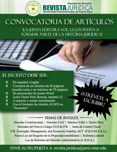 Revista Jurídica de la Inter Derecho lanza convocatoria de artículos para próxima edición