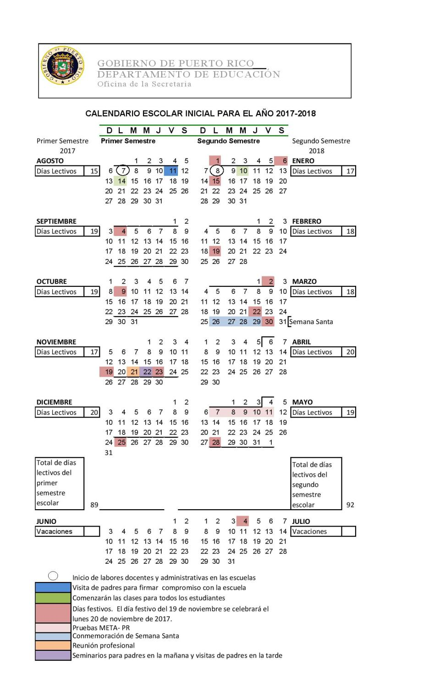 Calendario Escolar De Puerto Rico Para El Ano 2017 2018 Microjuris Al Dia