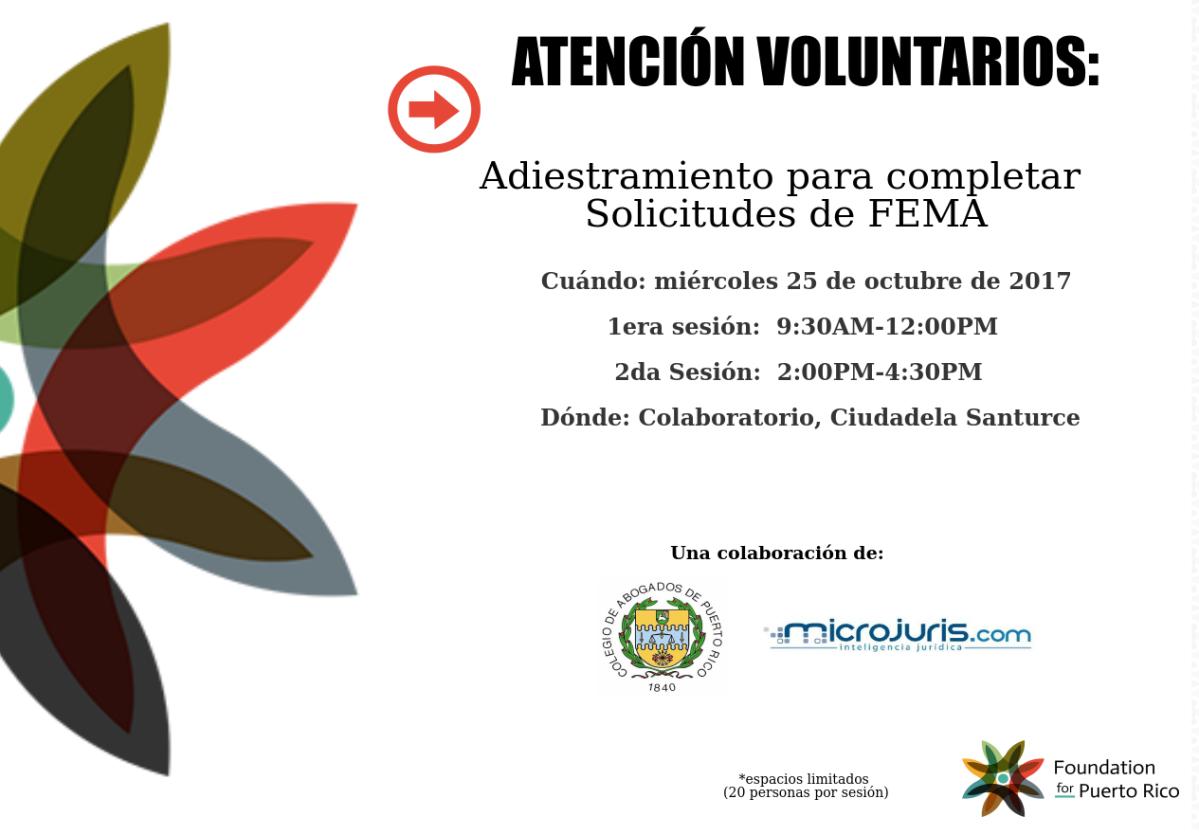 ¡Se buscan voluntarios! Adiestramiento para completar solicitudes de FEMA