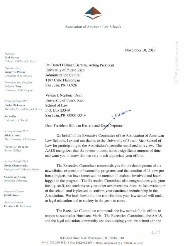 Carta AALS - Derecho UPR