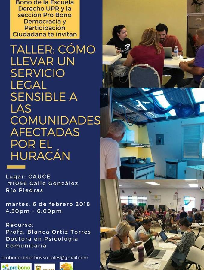 HOY: Taller sobre cómo llevar un servicio legal sensible a las comunidades afectadas por huracán María
