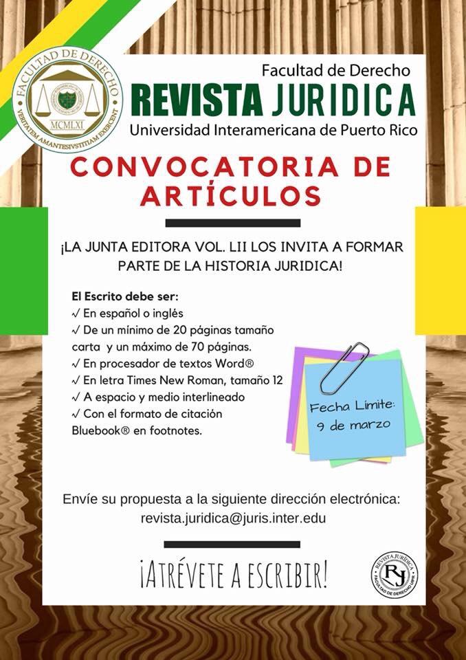 Revista Jurídica de la Inter Derecho lanza convocatoria