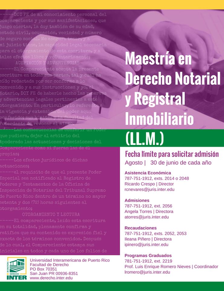 Inter Derecho aún está recibiendo solicitudes para admisión a programa de Maestría en Derecho Notarial y Registral Inmobiliario