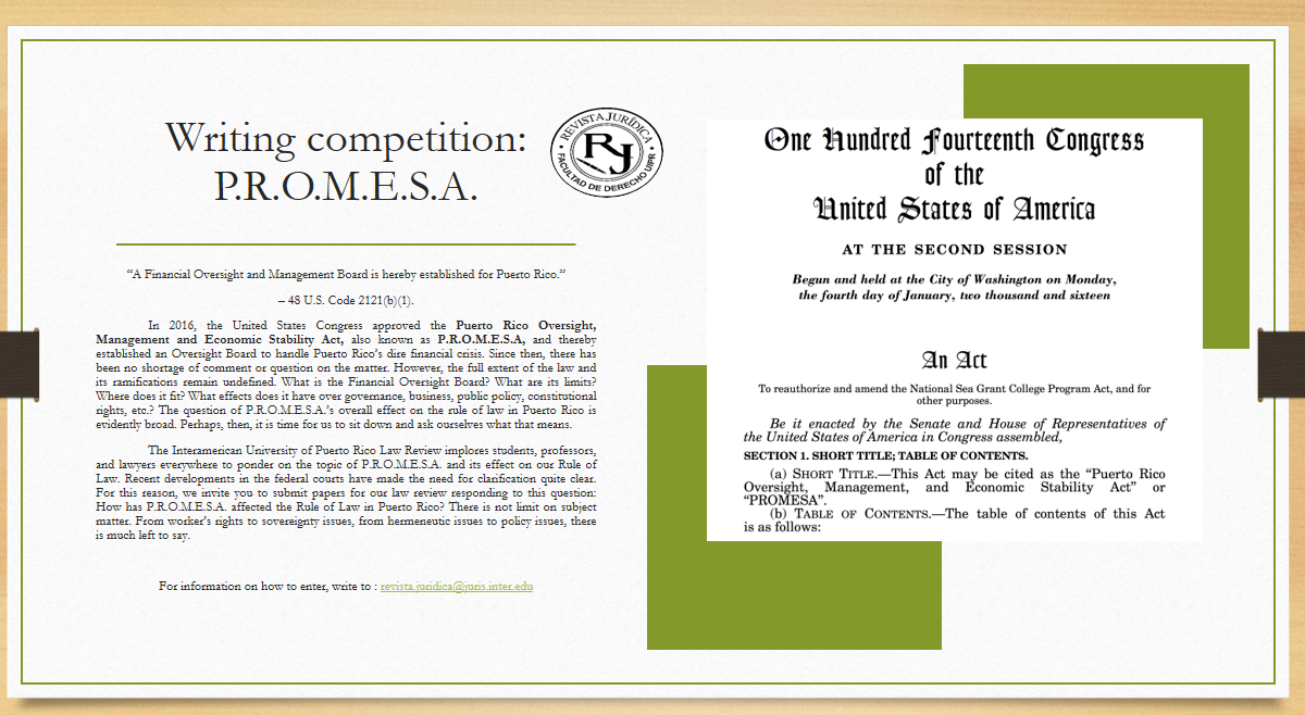 Law Review Writing Competition: P.R.O.M.E.S.A.