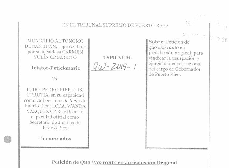 [DOCUMENTO] Municipio Autónomo de San Juan v. Pedro Pierluisi