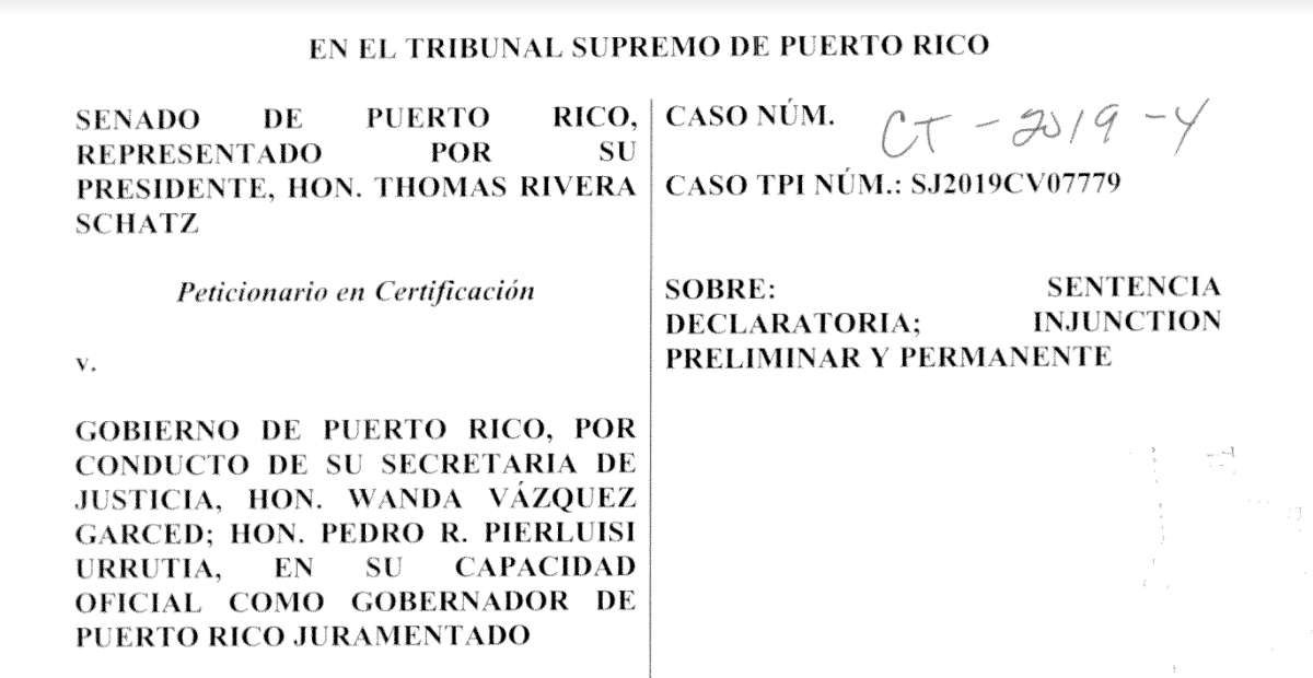 [DOCUMENTO] Senado pide al Supremo que atienda demanda contra Pedro Pierluisi Urrutia