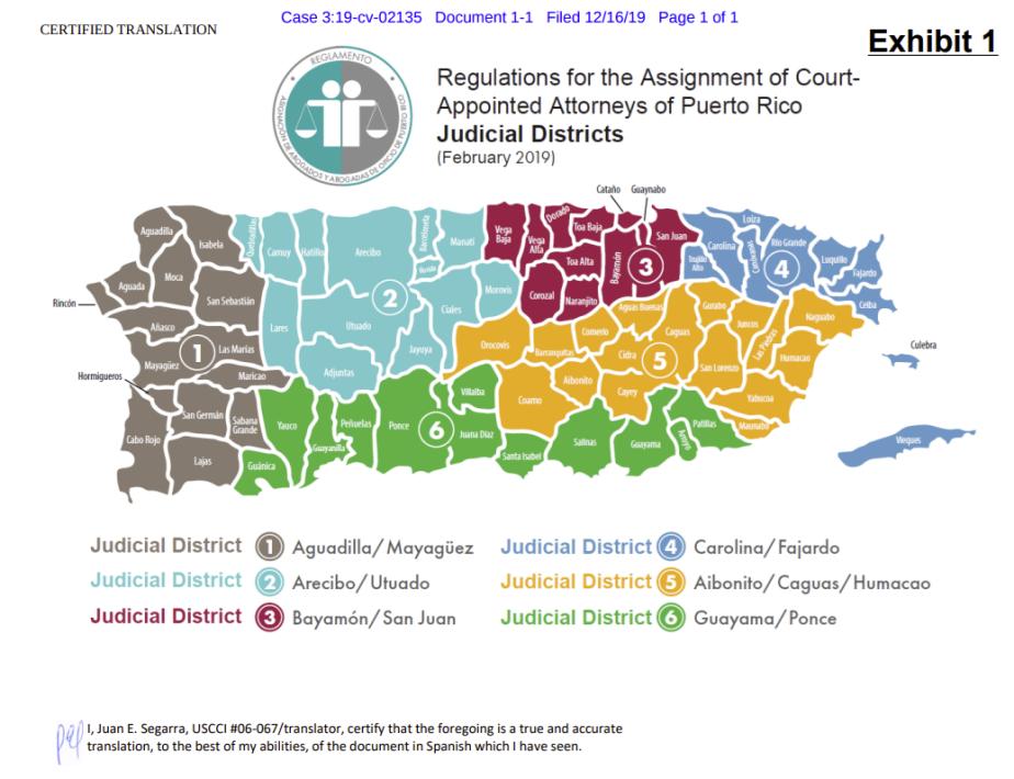 mapa regiones judiciales - abogados de oficio